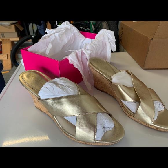 NIB Lilly Pulitzer Selena Slide Gold Wedge!